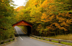 Highway through wooden bridge in fall, Michigan's Gold Coast