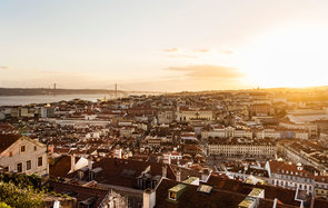 View of Lisbon from St George's Castle:: Castelo de Sao Jorge:: Lisbon:: Portugal
