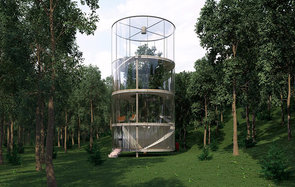 This giant tubular glass treehouse is a childhood dream come true