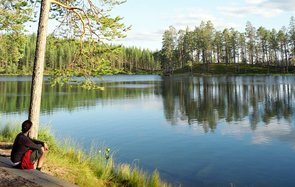 Finland, Hossa National Park, lakeside