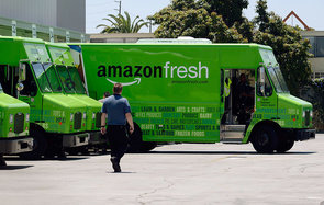 INGLEWOOD, CA - JUNE 27:  An Amazon Fresh truck arrives at a warehouse on June 27, 2013 in Inglewood, California. Amazon began groceries and fresh produce delivery on a trial basis to select Los Angeles neighberhoods free of charge for Amazon Prime member