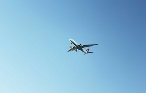 Turkish Airlines charter airplane is landing to Antalya International Airport