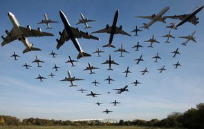 composite photo,  Planes take off from Heathrow  Airport on November 2, 2016 in London, England