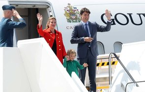 Canadian Prime Minister Justin Trudeau, his wife Sophie Gregoire and son Hadrien