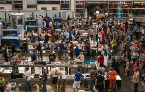 Long TSA line at Denver airport