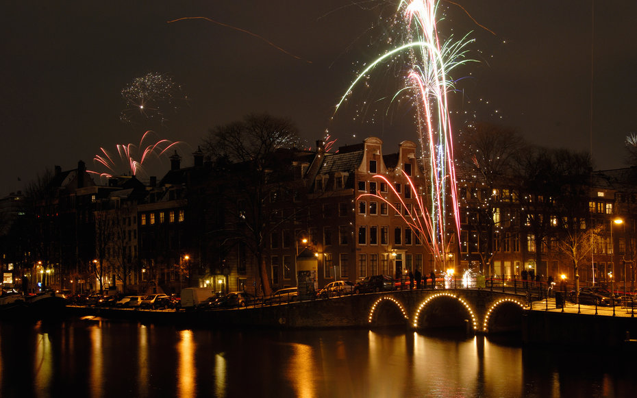Herengracht and Amstel River, Amsterdam, The Netherlands, New Years celebrations
