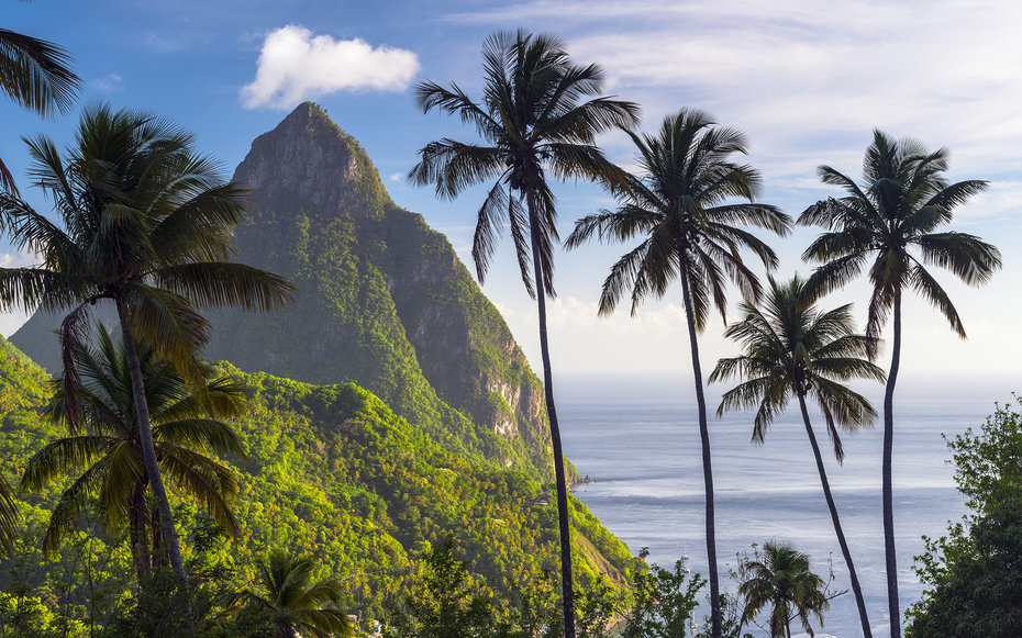 Caribbean, St Lucia, Petit (near) and Gros Piton Mountains (UNESCO World Heritage Site)