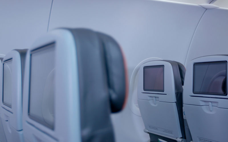 The JetBlue cabin on an Airbus A320.