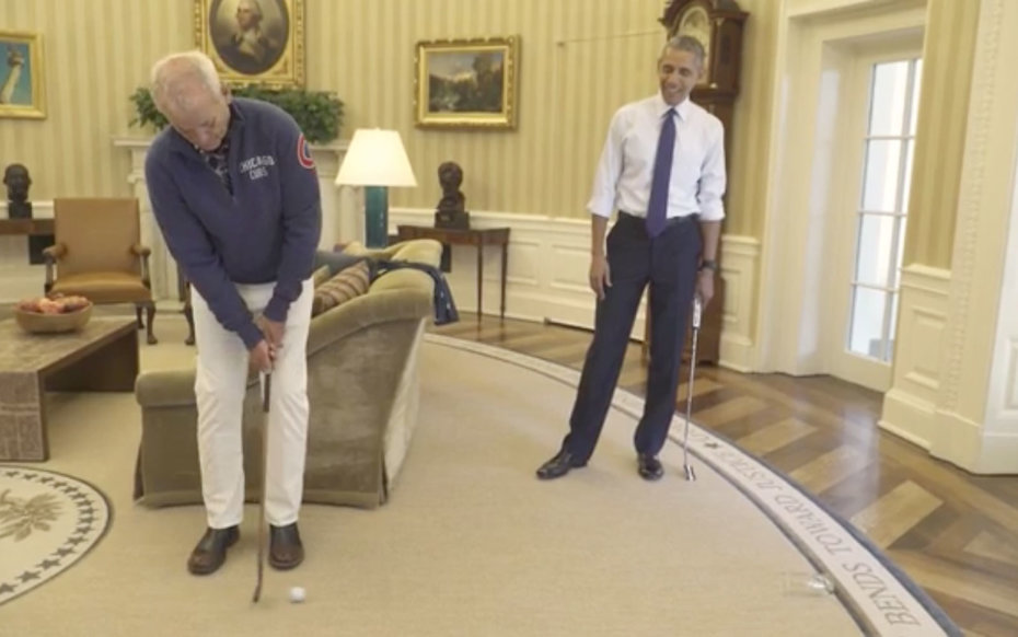 Bill Murray and President Barack Obama in the Oval Office.