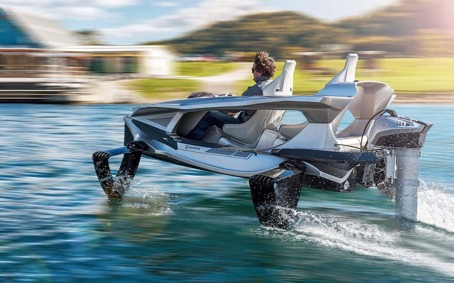 Quadrofoil electric vehicle glides over water