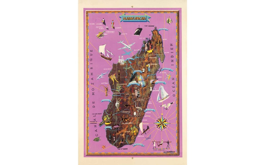 Картинки по запросу Courtesy of Swann Auction Galleries Madagascar This French colonial map of Madagascar was created in 1953.