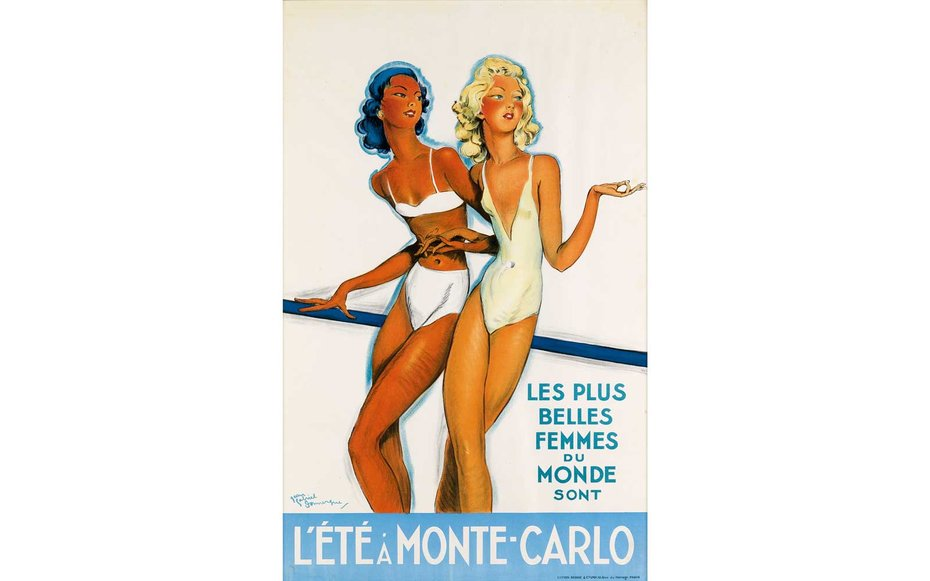 "Картинки по запросу Courtesy of Swann Auction L'Été à Monte-Carlo ""The most beautiful women in the world spend their summers in Monte-Carlo,"" the poster reads."