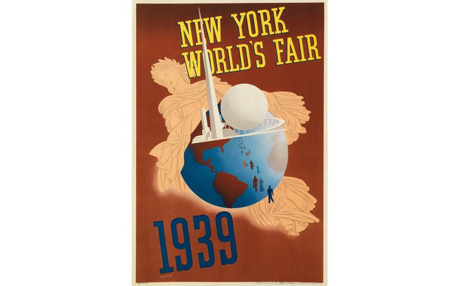 Картинки по запросу Courtesy of Swann Auction New York's World Fair 1939 The 1939 world's fair took place across 1,200 acres of Queens, New York on top of a former ash dump