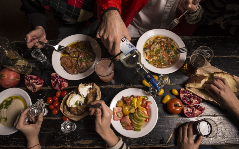 Dishes of food in Tel Aviv