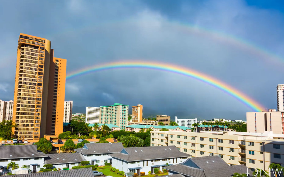 Watch a Double Rainbow Appear Over Honolulu