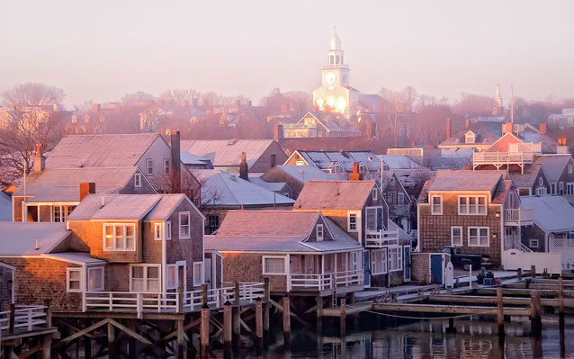 Nantucket sunrise townscape