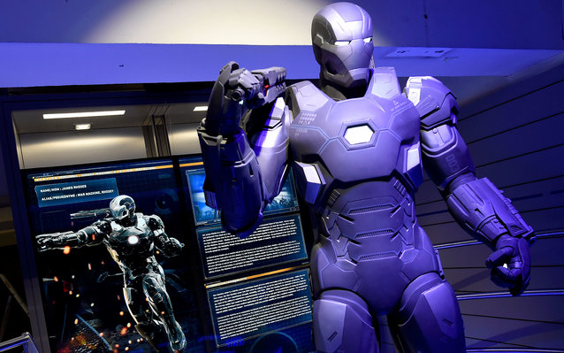 """A photo taken on April 13, 2016 shows Marvel Comics superhero """"War Machine"""" on display at the interactive Marvel Avengers STATION exhibition in the bussines district of La Defense, west of Paris. / AFP / MIGUEL MEDINA / RESTRICTED TO EDITORIAL USE - MANDA"""