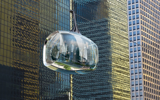 Rendering of Glass Cable Cars in Chicago