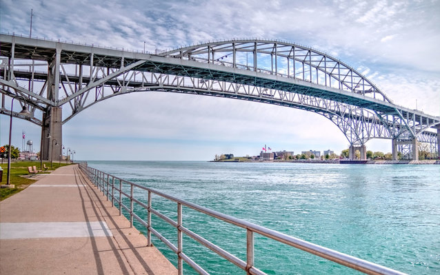 The twin spans of the Blue Water Bridges connect the cities of Port Huron, Michigan and Sarnia, Ontario.