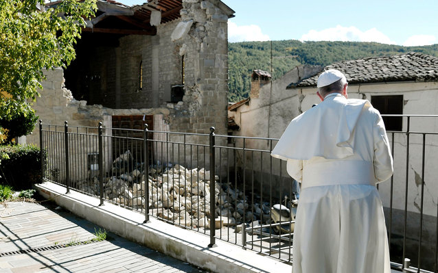 Pope visits Italian town struck by earthquake