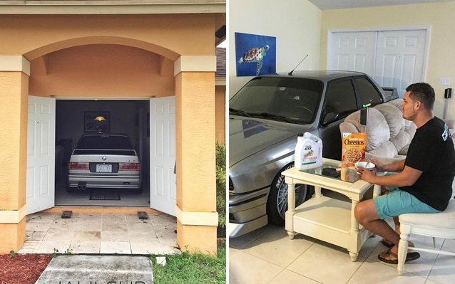 Man Parks his BMW in his living room during Hurricane Matthew