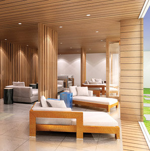 Efora Spa, Hilton, hotel, spa, rendering, transition lounge