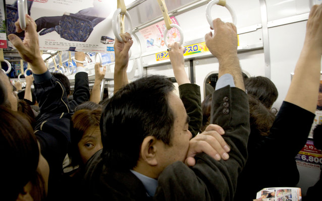 Crowded subway car in Japan