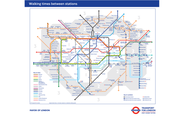 New Londond Underground tube walking map