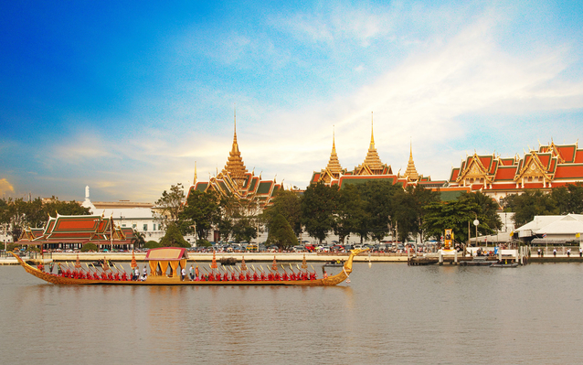 boats on the river in Bangkok, Thailand