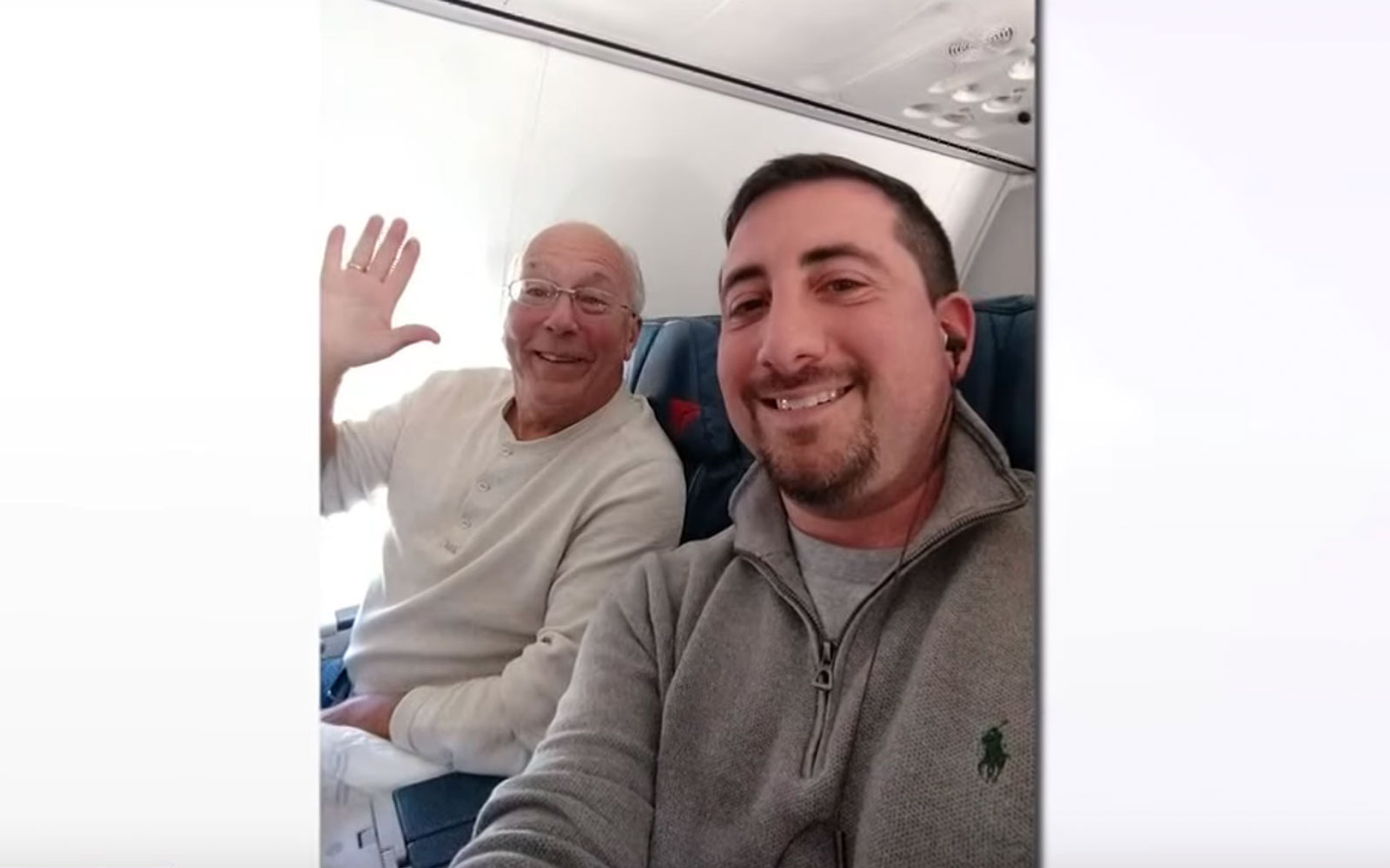 Flight attendant's dad joins her on Christmas Day flights (YouTube Video)